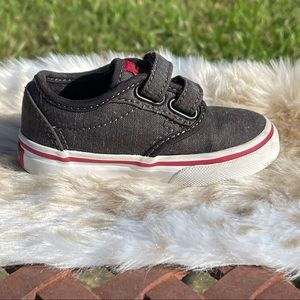Vans Off The Wall Charcoal & Red Canvas Sneakers